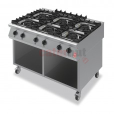 Six Burner Boiling Hob on Mobile Stand Gas