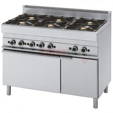 6 Burner Gas Range + 1 Gas Oven, 1 Closed Cabinet