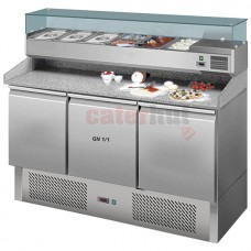 Pizza Counter with 3 doors GN 1/1, pan cooler 6x GN 1/3