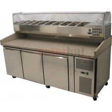 Pizza Preparation Table With Glass Top