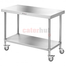 600 Deep Stainless Mobile centre Table + undershelf + wheels
