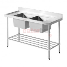 600mm Wide Double Bowl Sinks - With Undershelf + Splashback